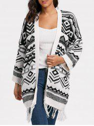 Long Geometric Fringe Sweater Cardigan - WHITE ONE SIZE
