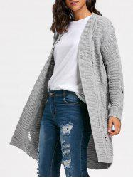 Poctets Cable Kint Long Sweater Cardigan - GRAY ONE SIZE