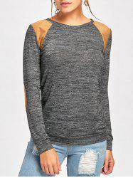 Faux Leather Insert Long Sleeve Tee - DEEP GRAY 2XL