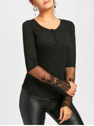 Long Sleeve Lace Panel Henley Tee - BLACK L