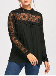 Lace Panel Frill Long Sleeve Top - BLACK M
