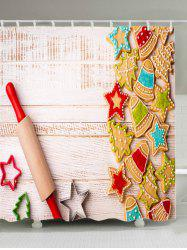 Christmas Biscuit Wood Print Fabric Waterproof Bathroom Shower Curtain - COLORMIX W59 INCH * L71 INCH