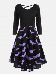 Bat Print Cross Back Fit et Flare Dress - Noir S