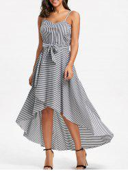 Striped High Low Slip Dress with Belt -