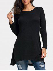Button High Low Tunic Sweater -