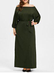 Plus Size Belted Off The Shoulder Maxi Dress -