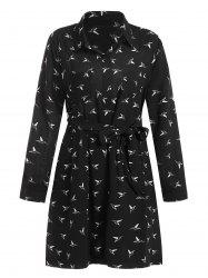 Plus Size Belted Bird Print Dress -