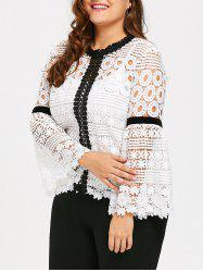 Plus Size Hollow Out Crochet Top with Cami -