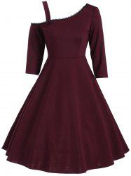 Vintage Skew Neck Lace Panel Dress -