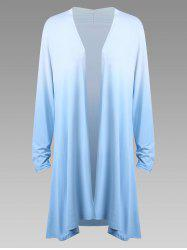 Plus Size  Long Sleeve Open Front Ombre Duster Cardigan -