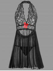 Plunge Lace Backless Sheer Babydoll -