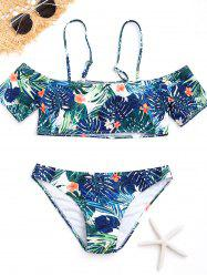 Tropical Print Cold Shoulder Bikini Set -