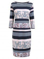 Plus Size Stripe Printed Bodycon Dress with Sleeves -