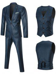 Lapel One Button Three-piece Business Suit -