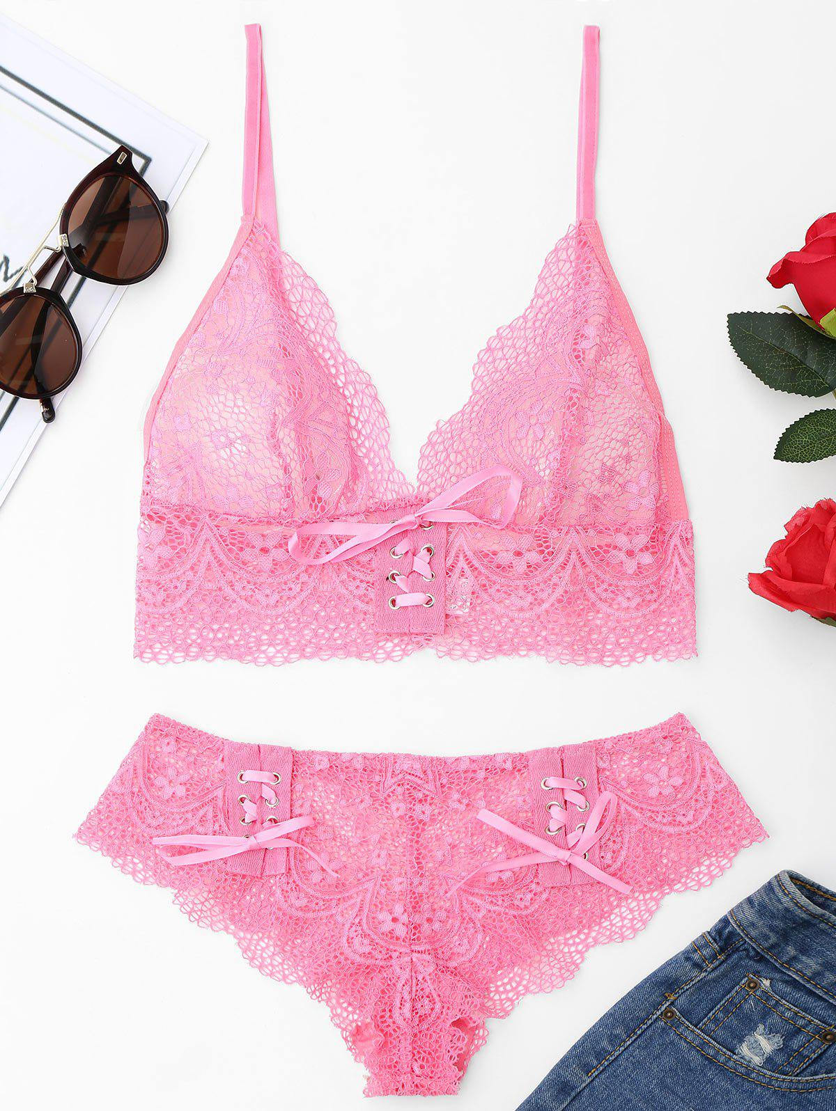 Scalloped Lace Up Bralette SetWOMEN<br><br>Size: M; Color: ROSE MADDER; Materials: Polyester; Bra Style: Unlined; Cup Shape: Three Quarters(3/4 Cup); Support Type: Wire Free; Strap Type: Adjusted-straps; Closure Style: None; Pattern Type: Solid; Embellishment: Lace; Style: Classic/Timeless; Weight: 0.1800kg; Package Contents: 1 x Bralette  1 x Panties;