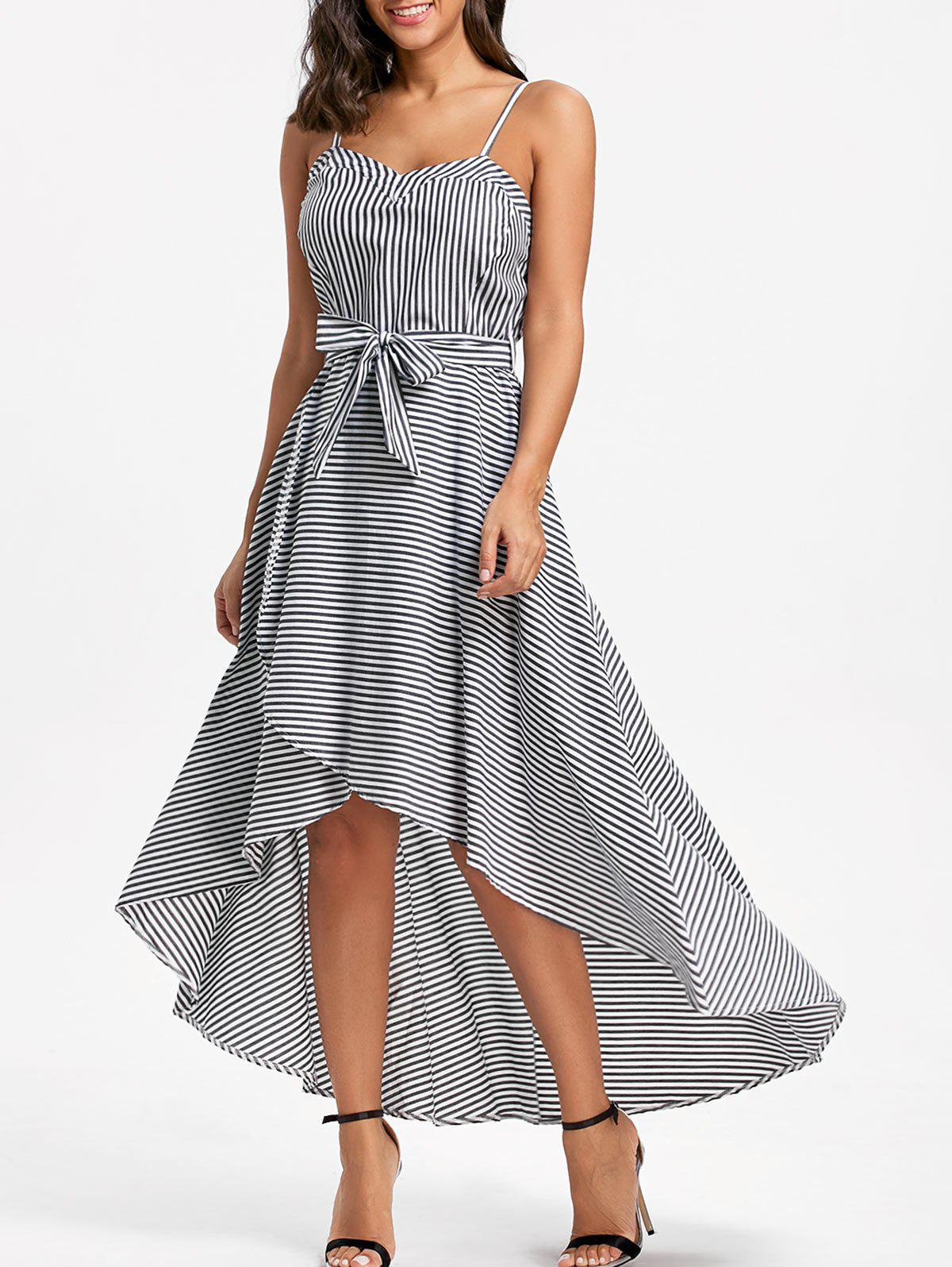 Online Striped High Low Slip Dress with Belt