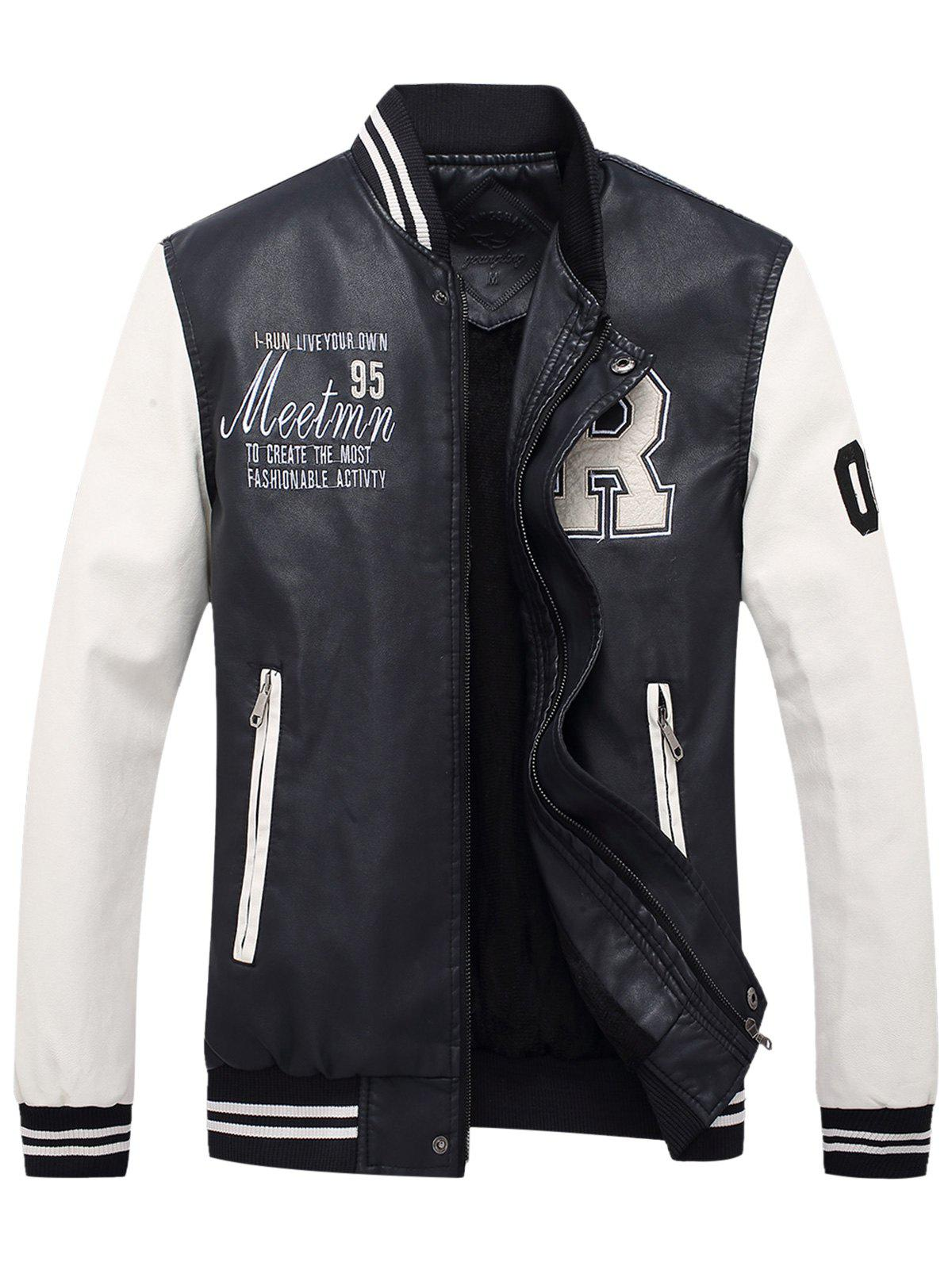 Fancy Graphic Embroidered PU Leather Baseball Jacket