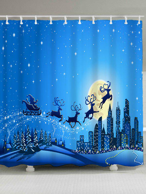 Waterproof Christmas Sled Moon Shower CurtainHOME<br><br>Size: W59 INCH * L71 INCH; Color: BLUE; Products Type: Shower Curtains; Materials: Polyester; Pattern: Animal,Moon; Style: Festival; Number of Hook Holes: W59 inch*L71 inch: 10; W71 inch*L71 inch: 12; W71 inch*L79 inch: 12; Package Contents: 1 x Shower Curtain 1 x Hooks (Set);