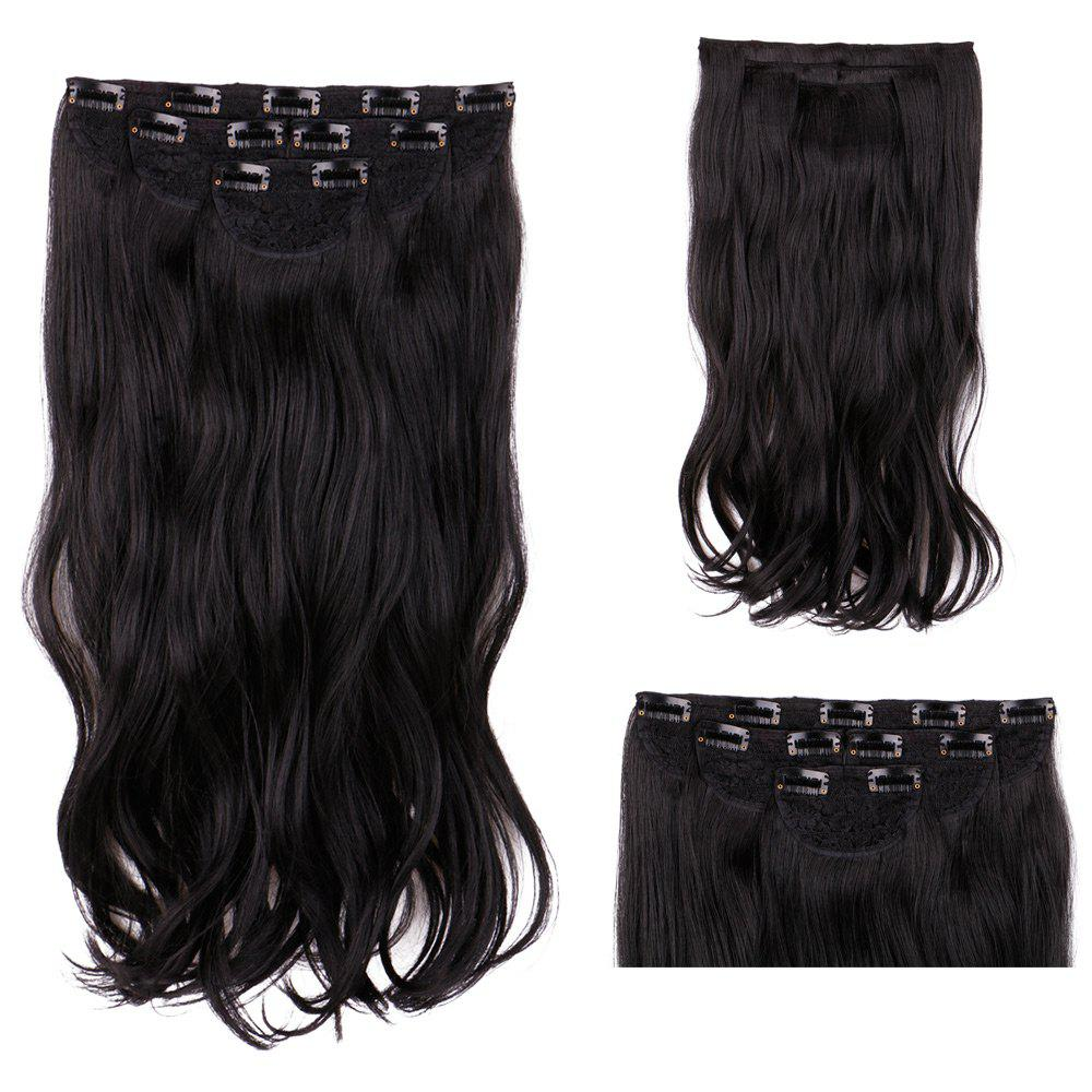 Black 4pcslot Long Wavy Synthetic Clip In Hair Extensions Rosegal