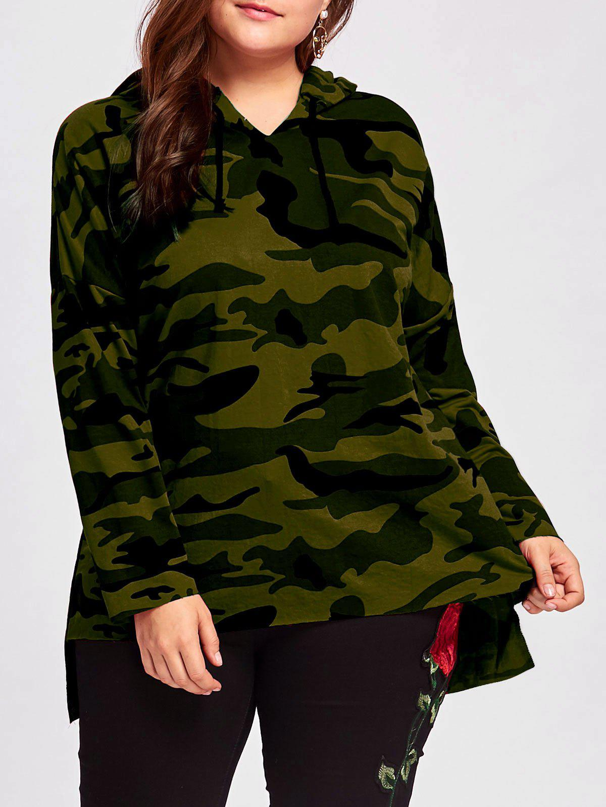 Cheap Plus Size Long High Low Camo Printed Hoodie