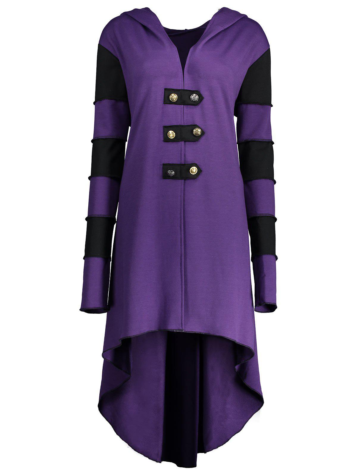 Hooded Plus Size Lace-up High Low  CoatWOMEN<br><br>Size: 5XL; Color: PURPLE; Clothes Type: Others; Material: Polyester,Spandex; Type: Asymmetric Length; Shirt Length: Long; Sleeve Length: Full; Collar: Hooded; Pattern Type: Others; Style: Fashion; Season: Fall,Winter; Weight: 0.6200kg; Package Contents: 1 x Coat;
