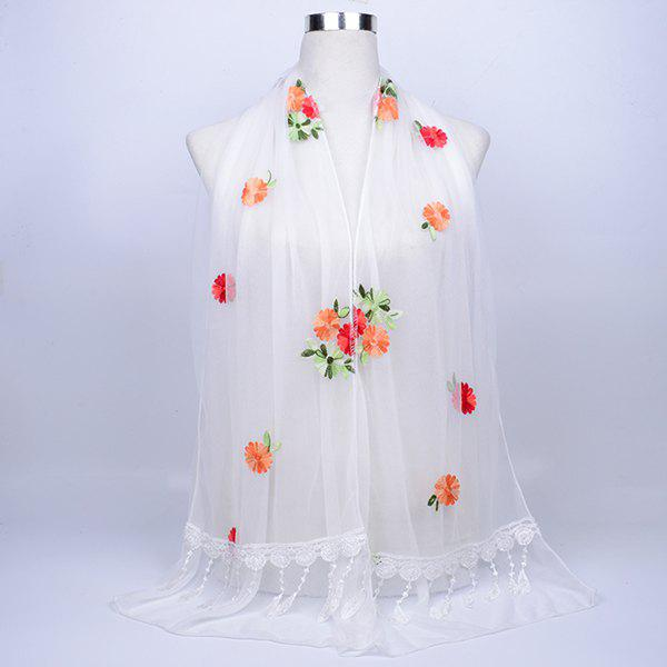 Lace Fringe Floral Embrodiery Shawl ScarfACCESSORIES<br><br>Color: WHITE; Scarf Type: Shawl/Wrap; Group: Adult; Gender: For Women; Style: Vintage; Material: Polyester; Pattern Type: Plant; Season: Fall,Spring,Summer,Winter; Scarf Length: 165CM; Scarf Width (CM): 32CM; Weight: 0.0800kg; Package Contents: 1 x Scarf;