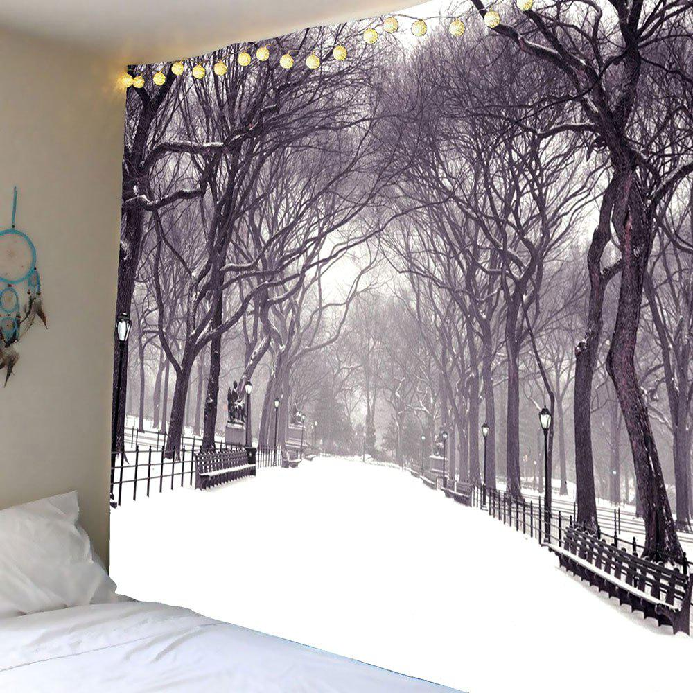 Hanging Snow Covering Road Trees Wall Art TapestryHOME<br><br>Size: W71 INCH * L71 INCH; Color: GRAY; Style: Festival; Theme: Landscape; Material: Polyester; Feature: Removable; Shape/Pattern: Snow,Tree; Weight: 0.3500kg; Package Contents: 1 x Tapestry;