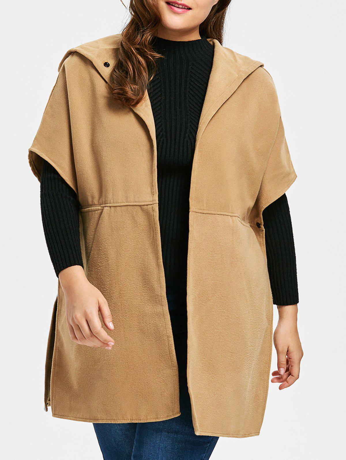 New Plus Size Hooded Faux Suede Poncho Coat