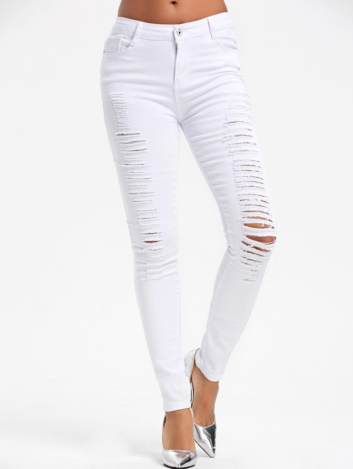 High Waist Skinny Ripped PantsWOMEN<br><br>Size: S; Color: WHITE; Style: Fashion; Length: Normal; Material: Cotton,Polyester,Spandex; Fit Type: Skinny; Waist Type: High; Closure Type: Zipper Fly; Pattern Type: Solid; Pant Style: Pencil Pants; Weight: 0.4500kg; Package Contents: 1 x Pants;