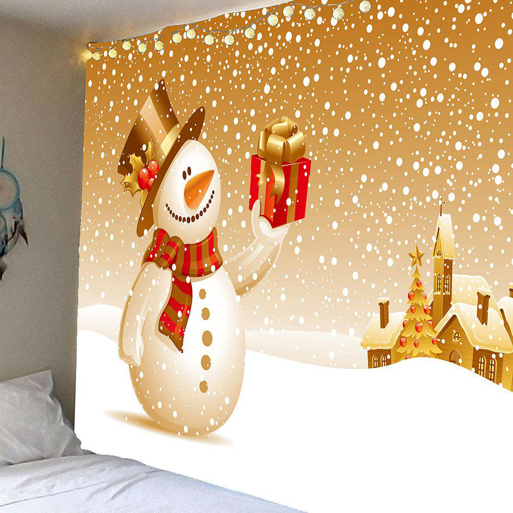Wall Art Christmas Snowman With Gift Patterned TapestryHOME<br><br>Size: W59 INCH * L51 INCH; Color: COLORFUL; Style: Festival; Theme: Christmas; Material: Velvet; Feature: Removable,Waterproof; Shape/Pattern: Gift,Snow,Snowman; Weight: 0.2100kg; Package Contents: 1 x Tapestry;
