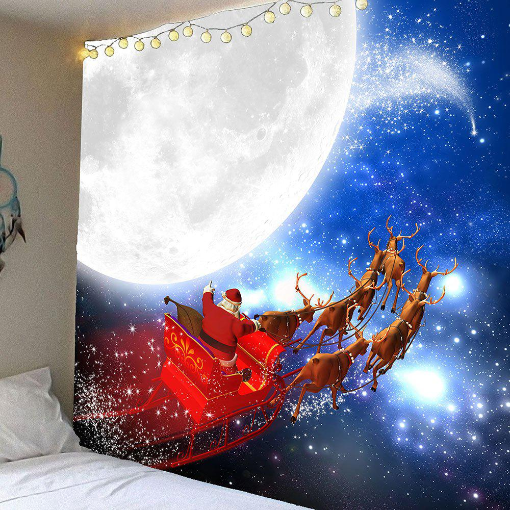 Moon and Father Christmas Printed Waterproof Wall Art TapestryHOME<br><br>Size: W79 INCH * L71 INCH; Color: COLORFUL; Style: Festival; Theme: Christmas; Material: Velvet; Feature: Removable,Washable,Waterproof; Shape/Pattern: Santa Claus; Weight: 0.3900kg; Package Contents: 1 x Tapestry;