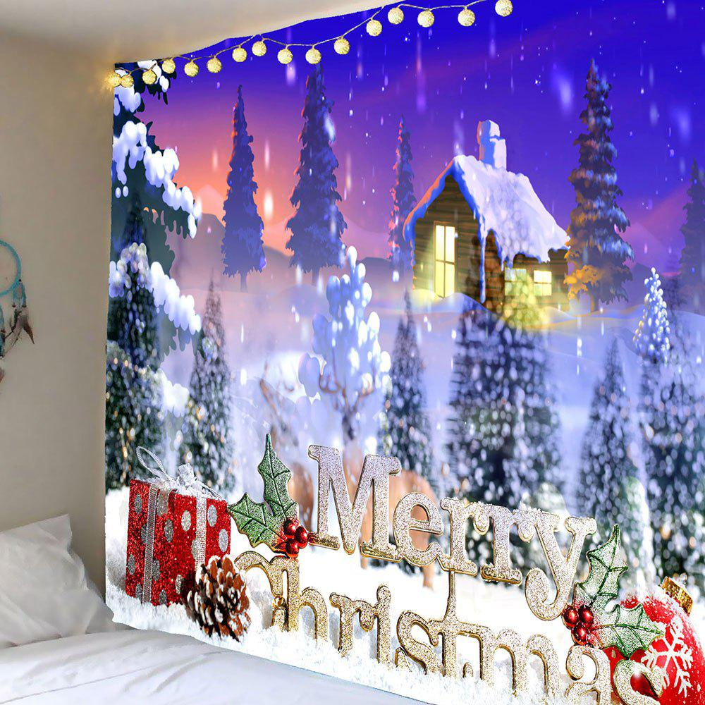 Wall Art Merry Christmas Snowy Town Hanging TapestryHOME<br><br>Size: W59 INCH * L51 INCH; Color: COLORFUL; Style: Festival; Theme: Christmas; Material: Polyester; Feature: Removable; Shape/Pattern: Letter,Snow,Tree; Weight: 0.2100kg; Package Contents: 1 x Tapestry;