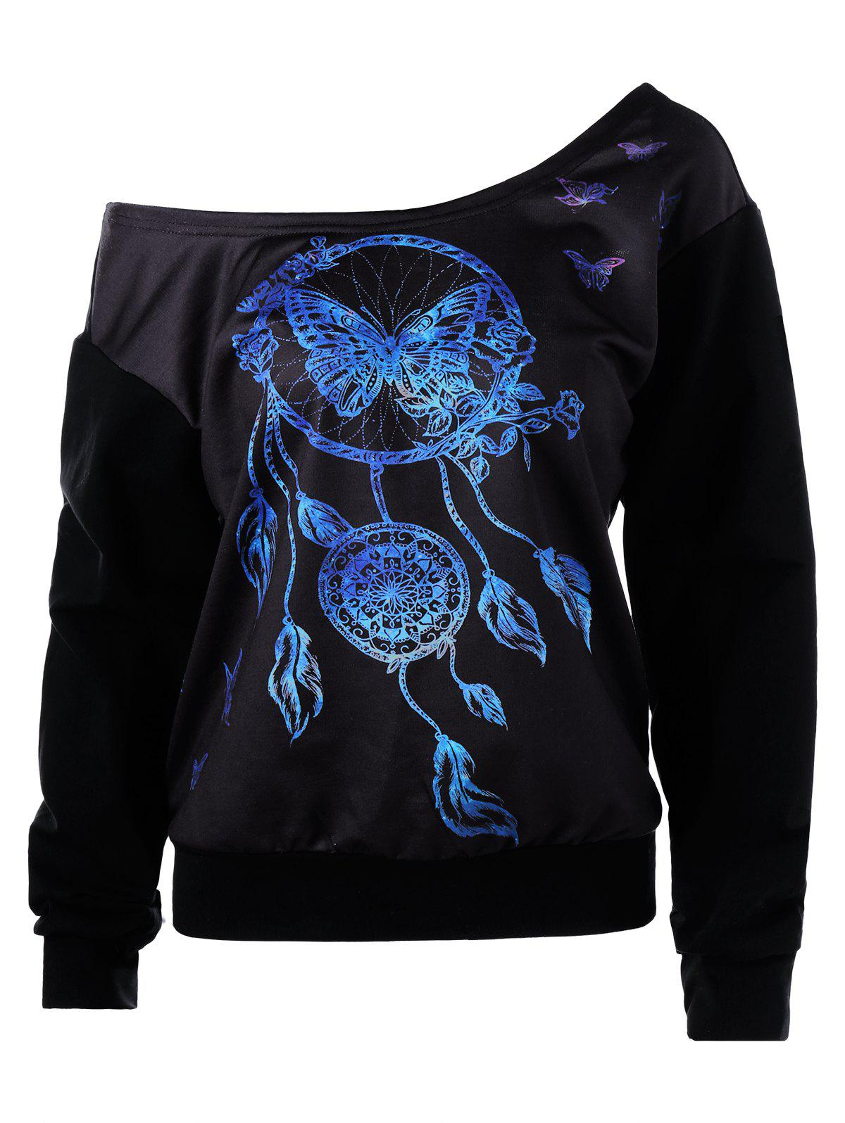 3D Butterfly Print Skew Neck SweatshirtWOMEN<br><br>Size: L; Color: BLACK; Material: Polyester,Spandex; Shirt Length: Regular; Sleeve Length: Full; Style: Fashion; Pattern Style: Print; Season: Fall,Spring; Weight: 0.4000kg; Package Contents: 1 x Sweatshirt;