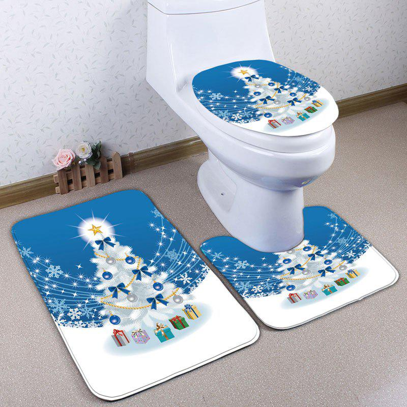 3Pcs Christmas Tree Gift Flannel Bath Mats SetHOME<br><br>Color: BLUE; Products Type: Bath rugs; Materials: Flannel; Pattern: Christmas Tree,Snowflake; Style: Festival; Size: Pedestal Rug: 40*50CM, Lid Toilet Cover: 38*43CM, Bath Mat: 50*80CM; Package Contents: 1 x Pedestal Rug 1 x Lid Toilet Cover 1 x Bath Mat;