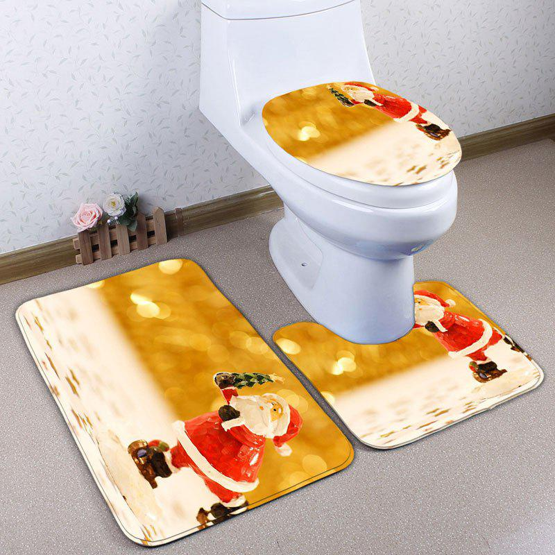 3Pcs Santa Claus Christmas Bathroom Toilet Rugs SetHOME<br><br>Color: GOLDEN; Products Type: Bath rugs; Materials: Flannel; Pattern: Santa Claus; Style: Festival; Size: Pedestal Rug: 40*50CM, Lid Toilet Cover: 38*43CM, Bath Mat: 50*80CM; Package Contents: 1 x Pedestal Rug 1 x Lid Toilet Cover 1 x Bath Mat;