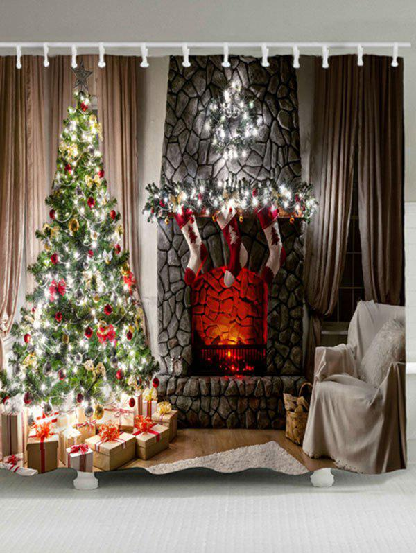 Christmas Fireplace Tree Waterproof Shower CurtainHOME<br><br>Size: W71 INCH * L79 INCH; Color: COLORMIX; Products Type: Shower Curtains; Materials: Polyester; Pattern: Christmas Tree; Style: Festival; Number of Hook Holes: W59 inch*L71 inch: 10; W71 inch*L71 inch: 12; W71 inch*L79 inch: 12; Package Contents: 1 x Shower Curtain 1 x Hooks (Set);