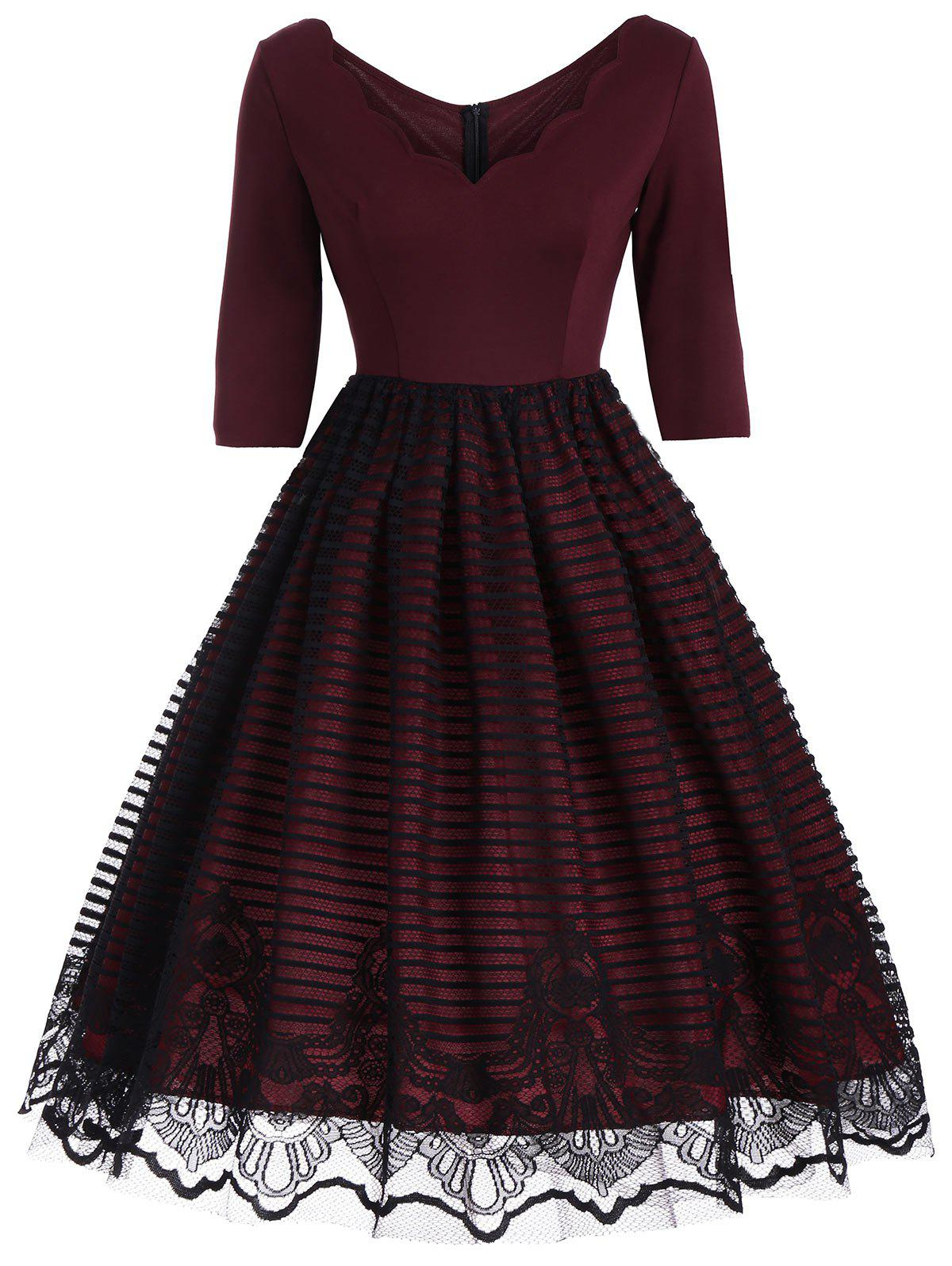 V Neck Lace Panel 1950 Prom DressWOMEN<br><br>Size: L; Color: WINE RED; Style: Vintage; Material: Cotton,Polyester; Silhouette: A-Line; Dresses Length: Knee-Length; Neckline: V-Neck; Sleeve Length: 3/4 Length Sleeves; Embellishment: Lace; Pattern Type: Solid; With Belt: No; Season: Fall; Weight: 0.3800kg; Package Contents: 1 x Dress;