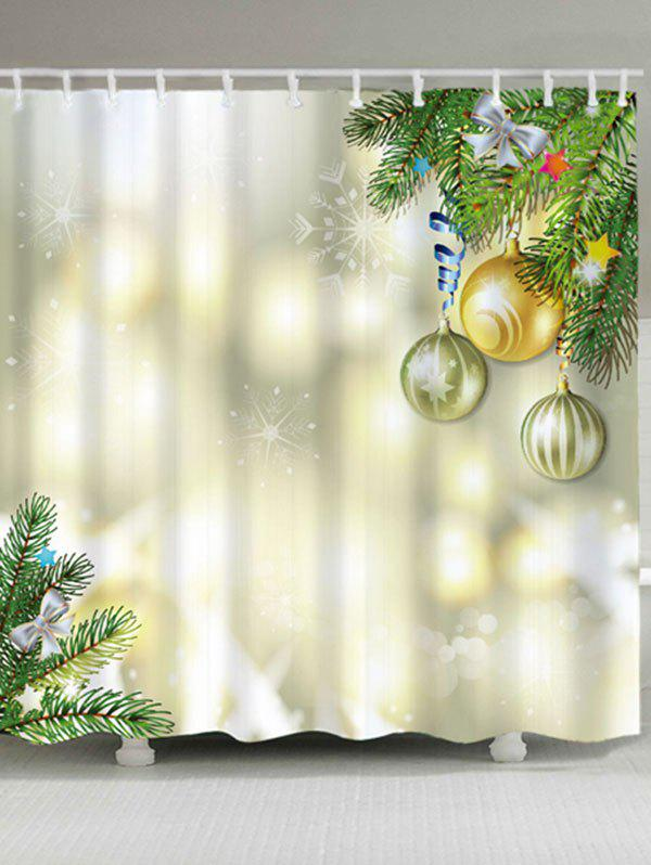 Waterproof Fabric Christmas Balls Bath CurtainHOME<br><br>Size: W71 INCH * L79 INCH; Color: LIGHT YELLOW; Products Type: Shower Curtains; Materials: Polyester; Pattern: Ball,Plant; Style: Festival; Number of Hook Holes: W59 inch*L71 inch: 10; W71 inch*L71 inch: 12; W71 inch*L79 inch: 12; Package Contents: 1 x Shower Curtain 1 x Hooks (Set);