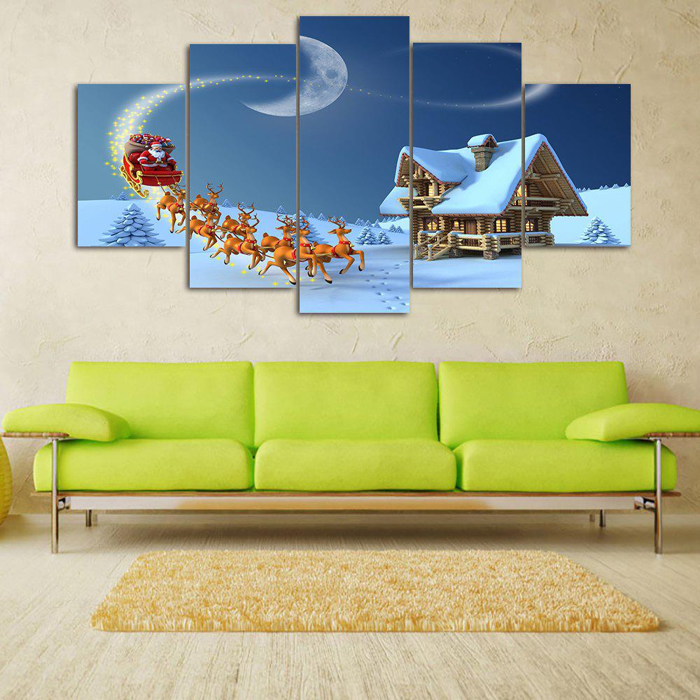 Fashion Snowy Christmas Night Print Unframed Split Canvas Paintings
