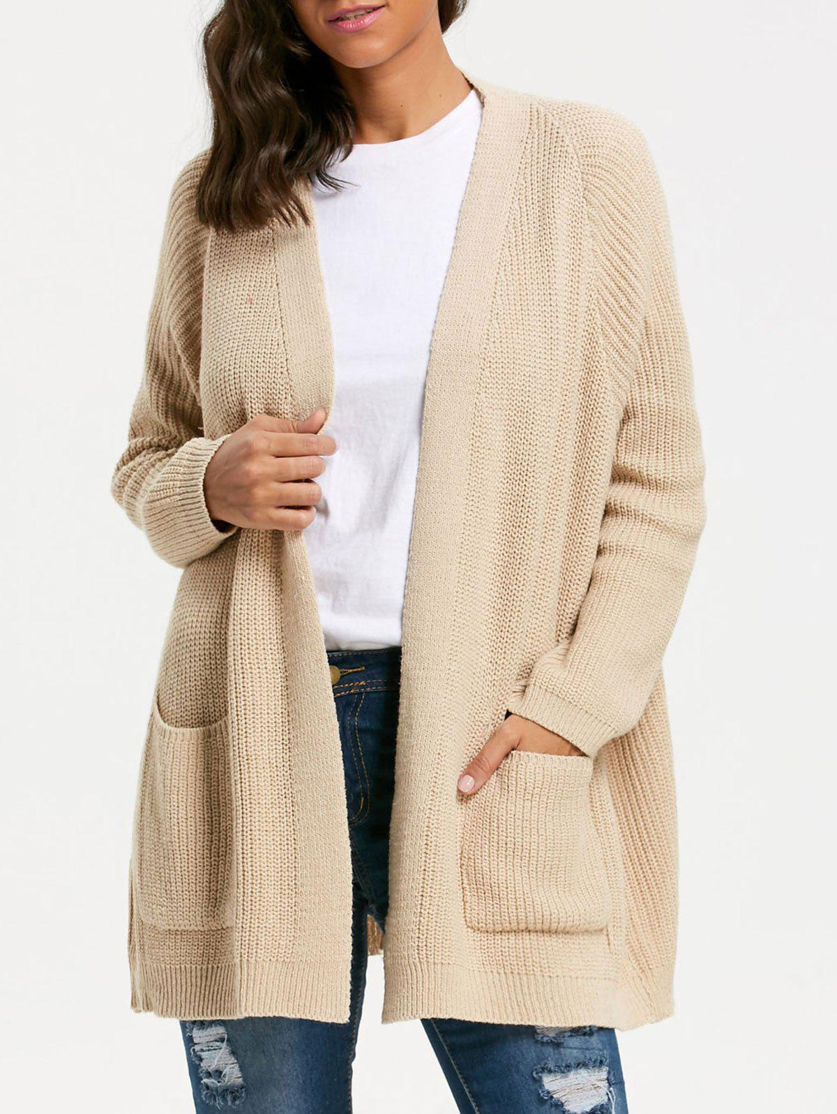 Pockets Knit Sweater CardiganWOMEN<br><br>Size: ONE SIZE; Color: KHAKI; Type: Cardigans; Material: Polyester,Spandex; Sleeve Length: Full; Collar: Collarless; Style: Casual; Pattern Type: Solid; Season: Fall,Winter; Weight: 0.4900kg; Package Contents: 1 x Cardigan;