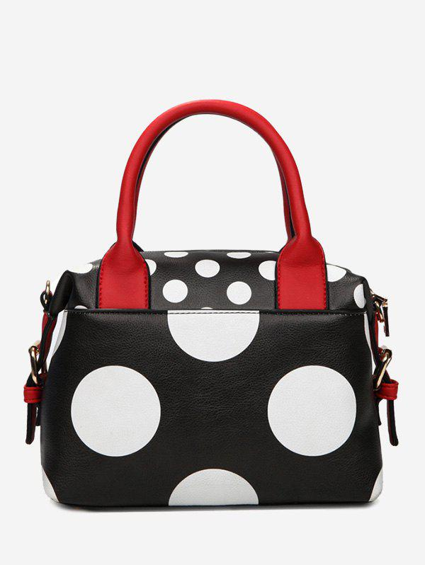 Color Block Polka Dot TotesSHOES &amp; BAGS<br><br>Color: BLACK; Handbag Type: Totes; Style: Fashion; Gender: For Women; Pattern Type: Dot; Handbag Size: Small(20-30cm); Closure Type: Zipper; Occasion: Versatile; Main Material: PU; Weight: 0.6000kg; Size(CM)(L*W*H): 22*11.5*17; Package Contents: 1 x Totes;