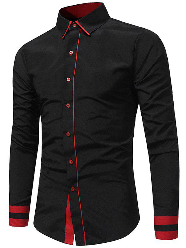Outfit Color Block Long Sleeve Slim Fit Shirt