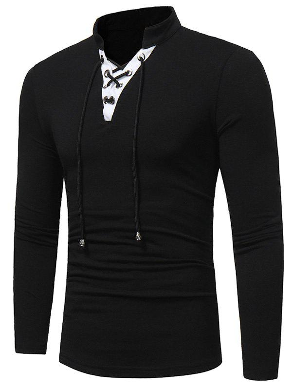Long Sleeve Color Block Lace Up T-shirtMEN<br><br>Size: L; Color: BLACK; Material: Cotton,Polyester; Sleeve Length: Full; Collar: Stand Collar; Style: Casual,Fashion; Pattern Type: Solid; Season: Fall; Weight: 0.3000kg; Package Contents: 1 x T-shirt;
