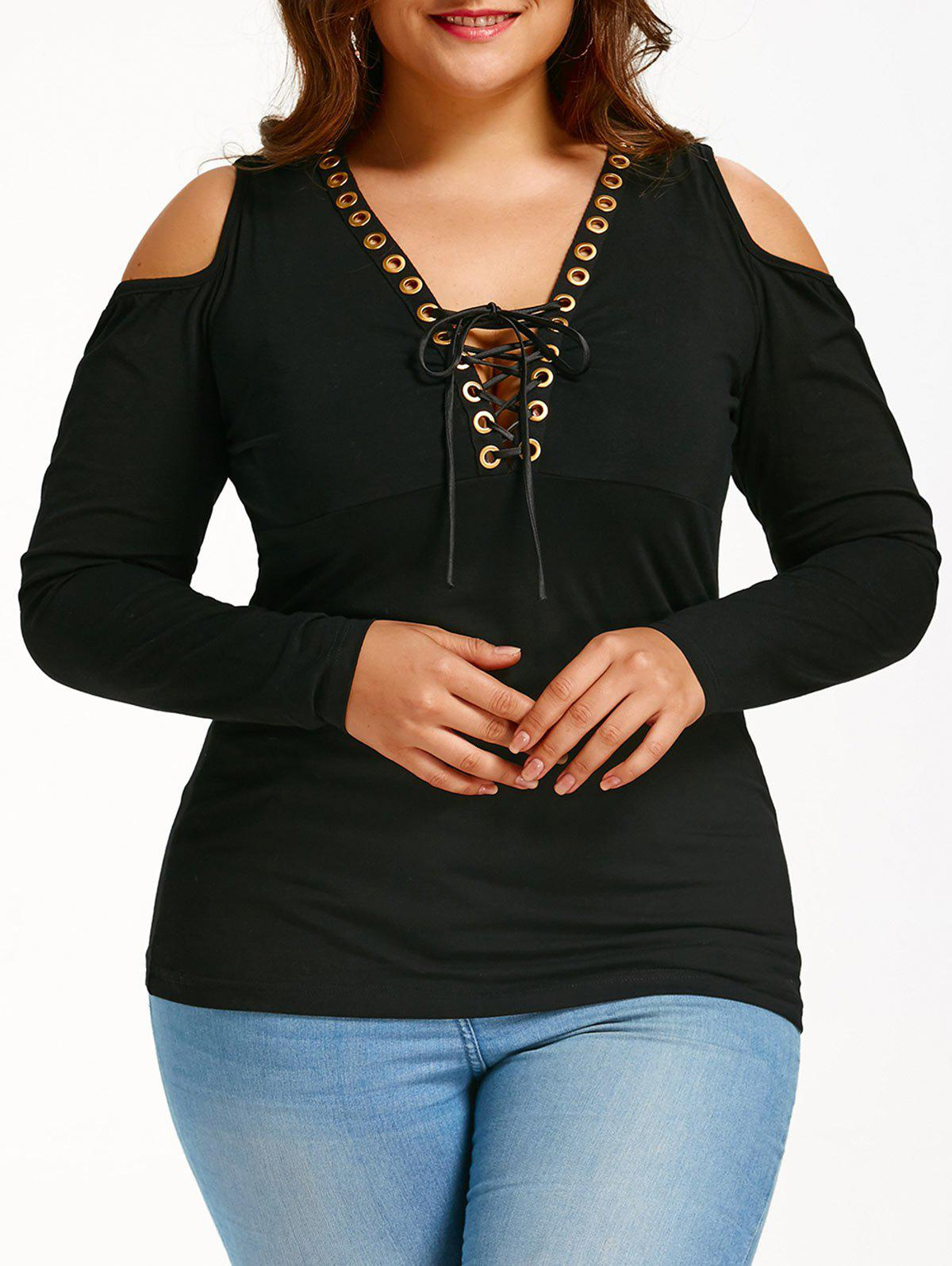 Lace Up Plus Size Cold Shoulder T-shirtWOMEN<br><br>Size: 5XL; Color: BLACK; Material: Polyester,Spandex; Shirt Length: Regular; Sleeve Length: Full; Collar: Plunging Neck; Style: Fashion; Season: Fall,Spring; Sleeve Type: Cold Shoulder; Embellishment: Criss-Cross; Pattern Type: Solid; Elasticity: Elastic; Weight: 0.3000kg; Package Contents: 1 x T-shirt;