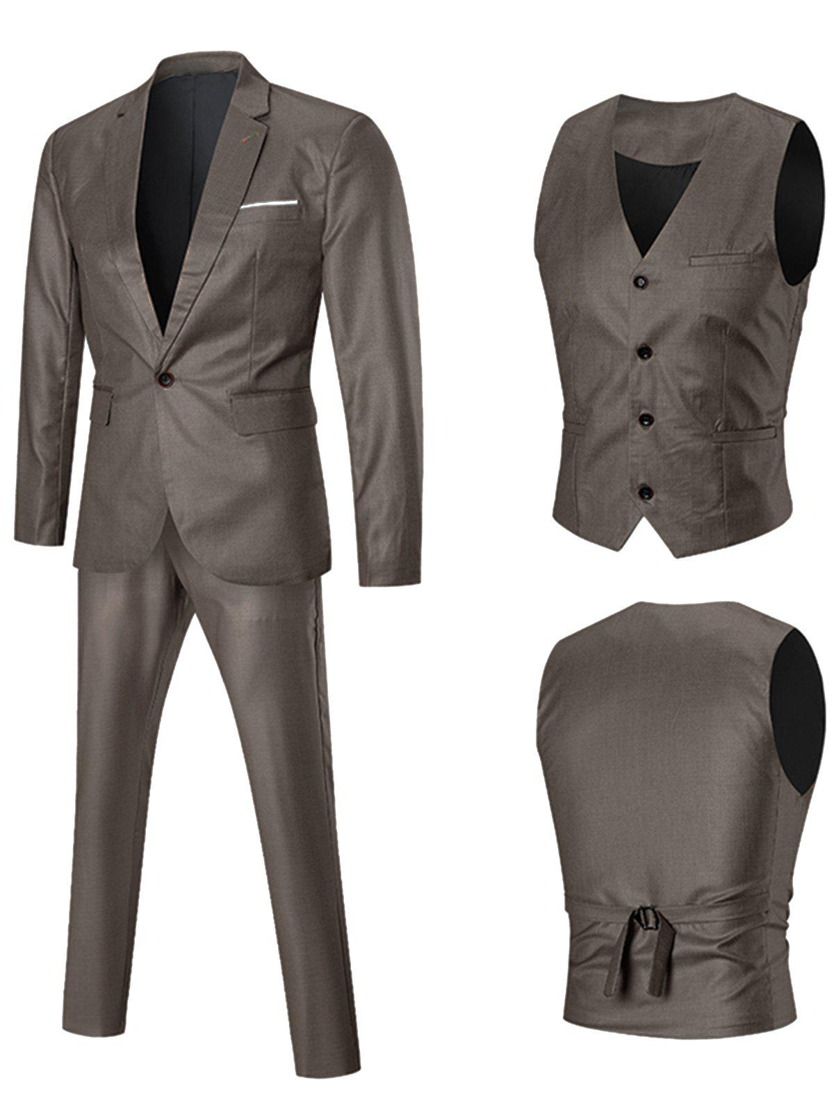 Unique Lapel One-button Three Piece Business Suit