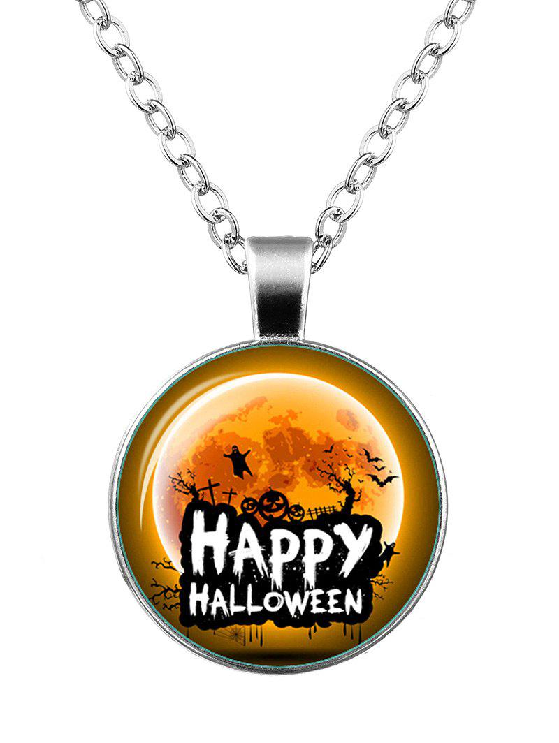 Happy Halloween Pumpkin Ghost Bat NecklaceJEWELRY<br><br>Color: SILVER; Item Type: Pendant Necklace; Gender: Unisex; Necklace Type: Link Chain; Style: Trendy; Shape/Pattern: Round; Length: 55CM; Weight: 0.0300kg; Package Contents: 1 x Necklace;