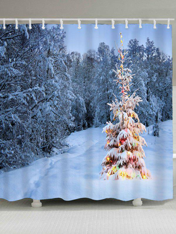 Waterproof Christmas Snow Tree Shower CurtainHOME<br><br>Size: W71 INCH * L79 INCH; Color: CLOUDY; Products Type: Shower Curtains; Materials: Polyester; Style: Fashion; Number of Hook Holes: W59 inch*L71 inch: 10; W71 inch*L71 inch: 12; W71 inch*L79 inch: 12; Package Contents: 1 x Shower Curtain 1 x Hooks (Set);