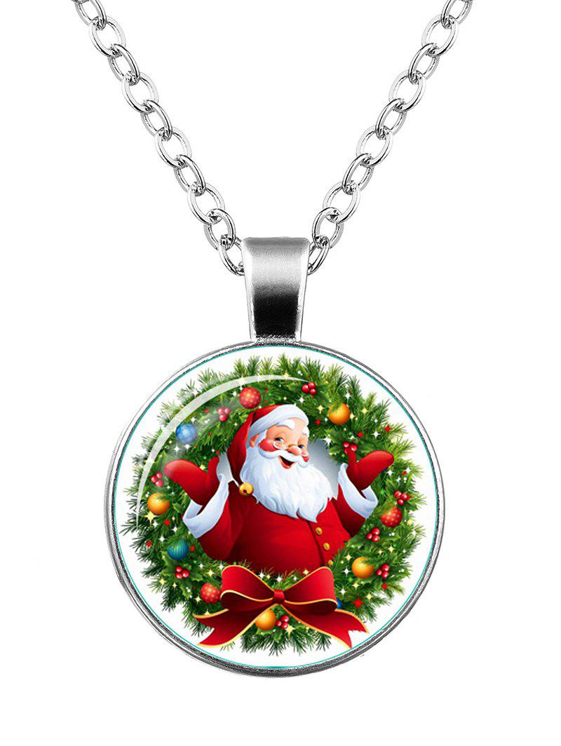 Christmas Santa Wreath Bowknot Pendant NecklaceJEWELRY<br><br>Color: SILVER; Item Type: Pendant Necklace; Gender: Unisex; Necklace Type: Link Chain; Style: Trendy; Shape/Pattern: Round; Length: 55CM; Weight: 0.0400kg; Package Contents: 1 x Necklace;