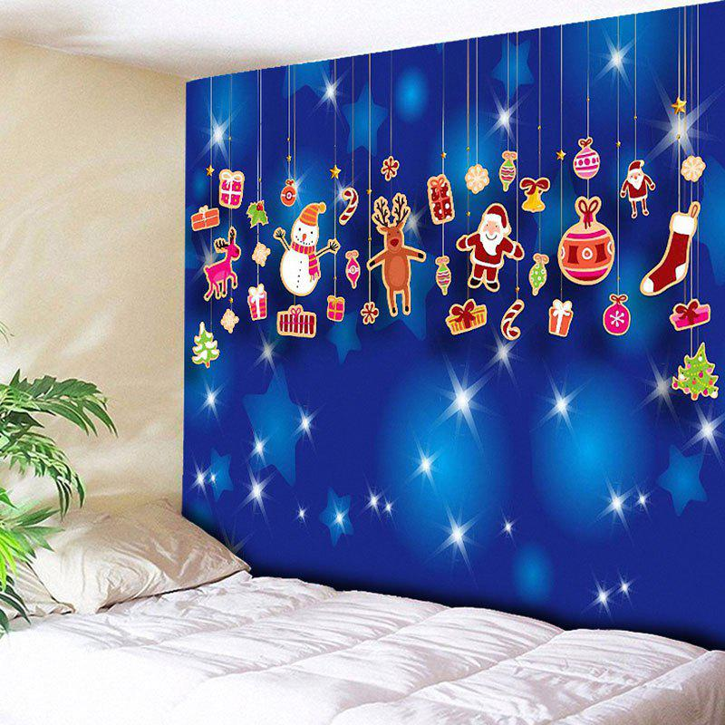 Christmas Wall Art Printed TapestryHOME<br><br>Size: W79 INCH * L59 INCH; Color: BLUE; Style: Festival; Theme: Christmas; Material: Cotton,Polyester; Feature: Removable,Washable; Shape/Pattern: Animal,Santa Claus,Snowman; Weight: 0.3000kg; Package Contents: 1 x Tapestry;
