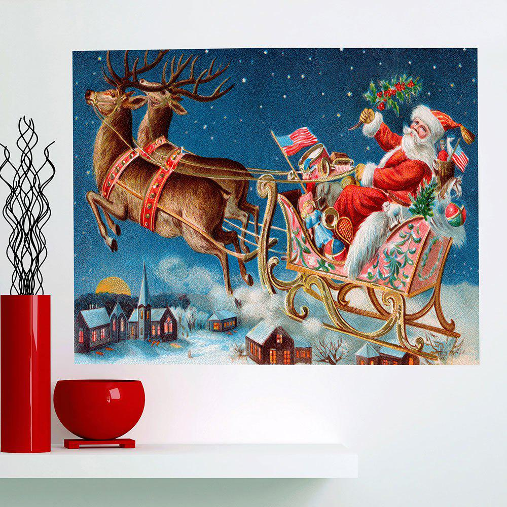 Affordable Santa Carriage Printed Removable Stick-on Wall Art Painting